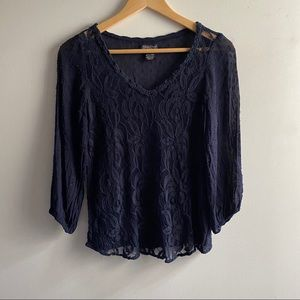 Lucky Brand navy blue sheer mixed lace v-neck top